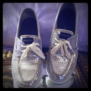 Silver grey and silver sequined Sperrys size 8